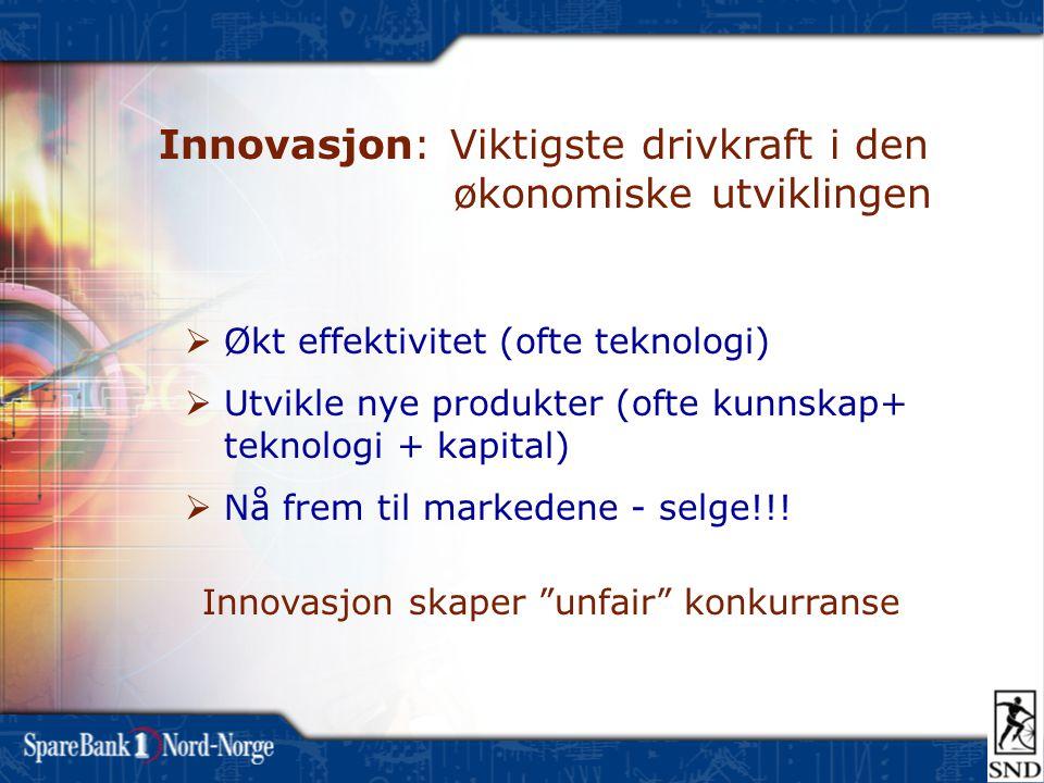 Innovasjon skaper unfair konkurranse  Økt effektivitet (ofte teknologi)  Utvikle nye produkter (ofte kunnskap+ teknologi + kapital)  Nå frem til markedene - selge!!.