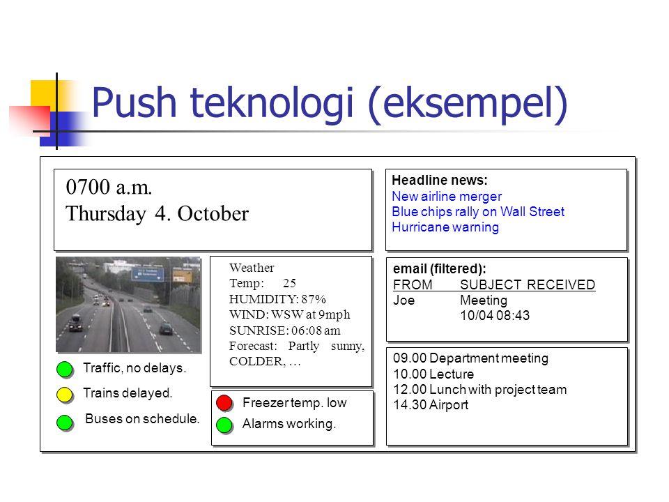 Push teknologi (eksempel) 0700 a.m.Thursday 4. October 0700 a.m.