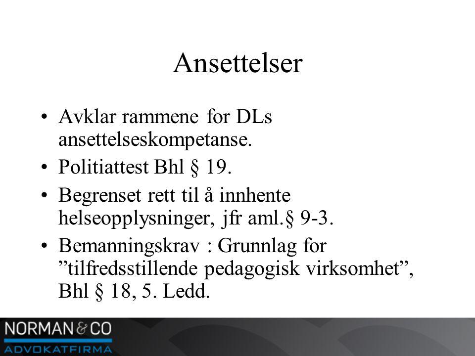 Ansettelser •Avklar rammene for DLs ansettelseskompetanse.