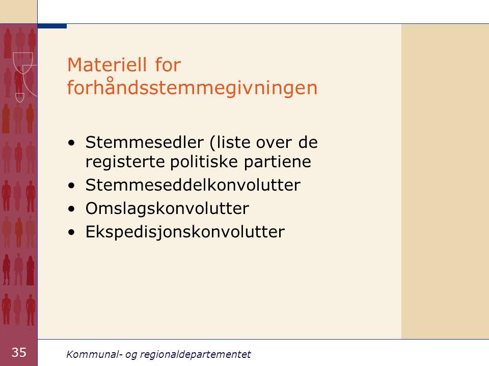 Kommunal- og regionaldepartementet 35 Materiell for forhåndsstemmegivningen •Stemmesedler (liste over de registerte politiske partiene •Stemmeseddelko