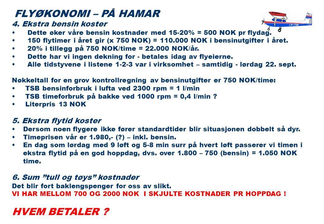 4. Ekstra bensin koster • Dette øker våre bensin kostnader med 15-20% = 500 NOK pr flydag.