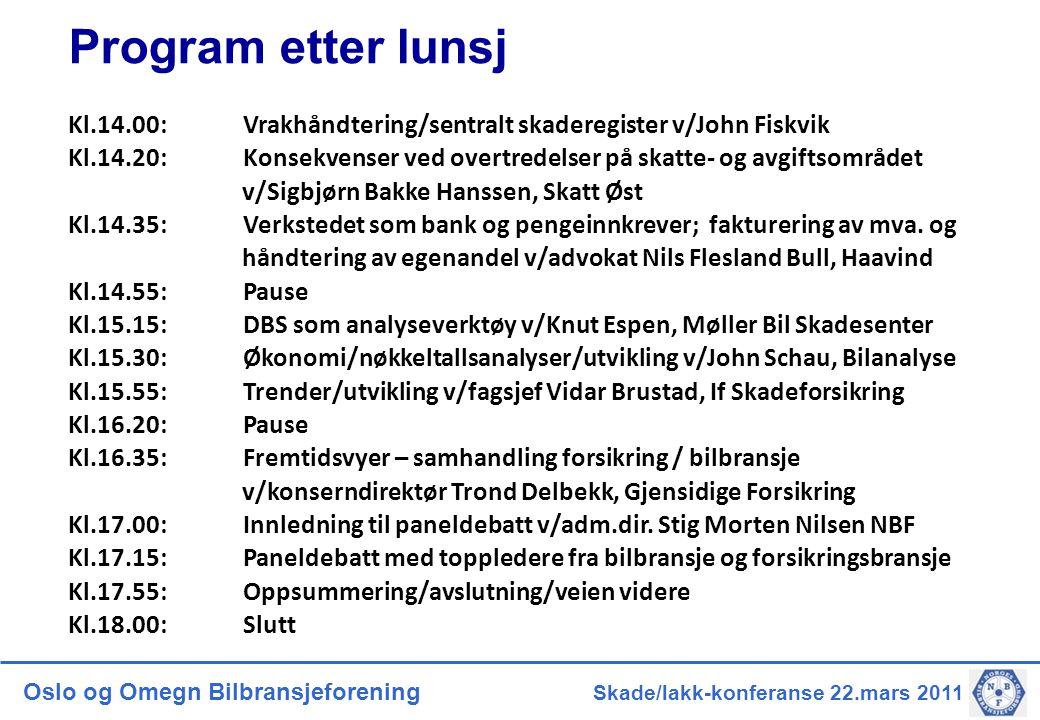 Oslo og Omegn Bilbransjeforening Skade/lakk-konferanse 22.mars 2011 Program etter lunsj Kl.14.00: Vrakhåndtering/sentralt skaderegister v/John Fiskvik