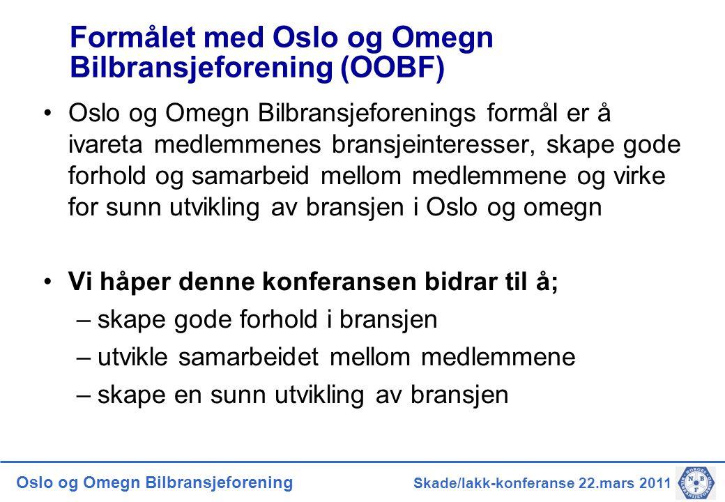 Oslo og Omegn Bilbransjeforening Skade/lakk-konferanse 22.mars 2011 Formålet med Oslo og Omegn Bilbransjeforening (OOBF) •Oslo og Omegn Bilbransjefore