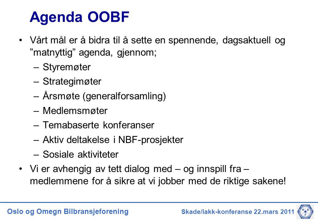 """Oslo og Omegn Bilbransjeforening Skade/lakk-konferanse 22.mars 2011 Agenda OOBF •Vårt mål er å bidra til å sette en spennende, dagsaktuell og """"matnytt"""
