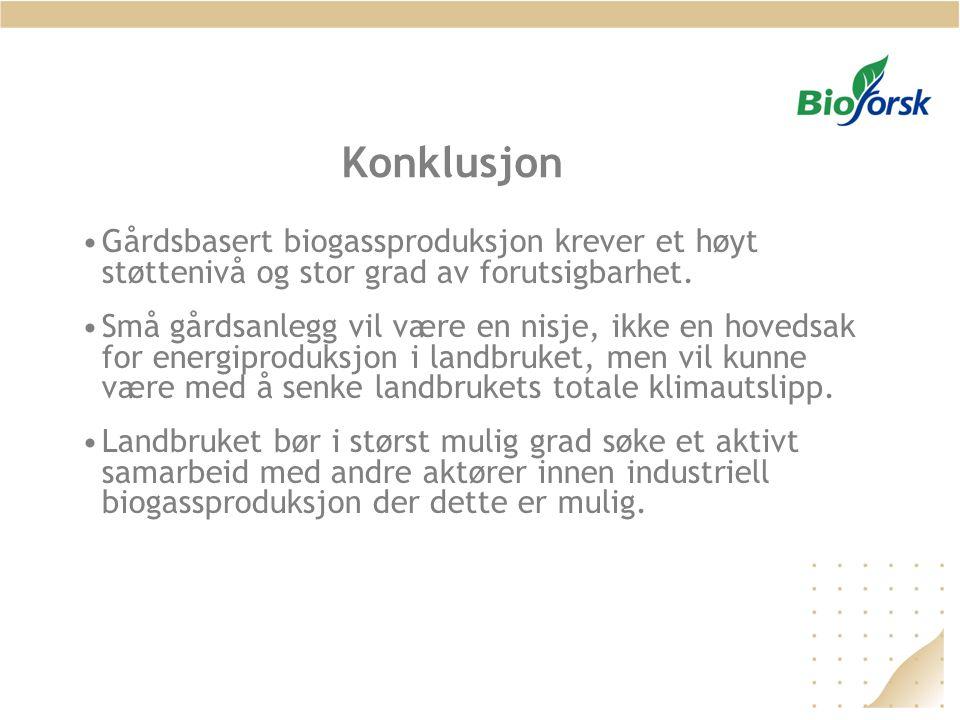 Konklusjon •Gårdsbasert biogassproduksjon krever et høyt støttenivå og stor grad av forutsigbarhet. •Små gårdsanlegg vil være en nisje, ikke en hoveds