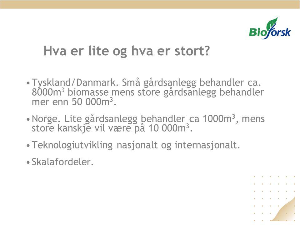 Hva er lite og hva er stort? •Tyskland/Danmark. Små gårdsanlegg behandler ca. 8000m 3 biomasse mens store gårdsanlegg behandler mer enn 50 000m 3. •No
