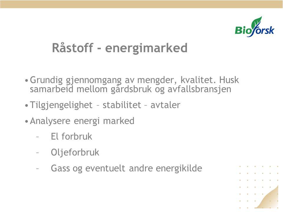 Råstoff - energimarked •Grundig gjennomgang av mengder, kvalitet. Husk samarbeid mellom gårdsbruk og avfallsbransjen •Tilgjengelighet – stabilitet – a