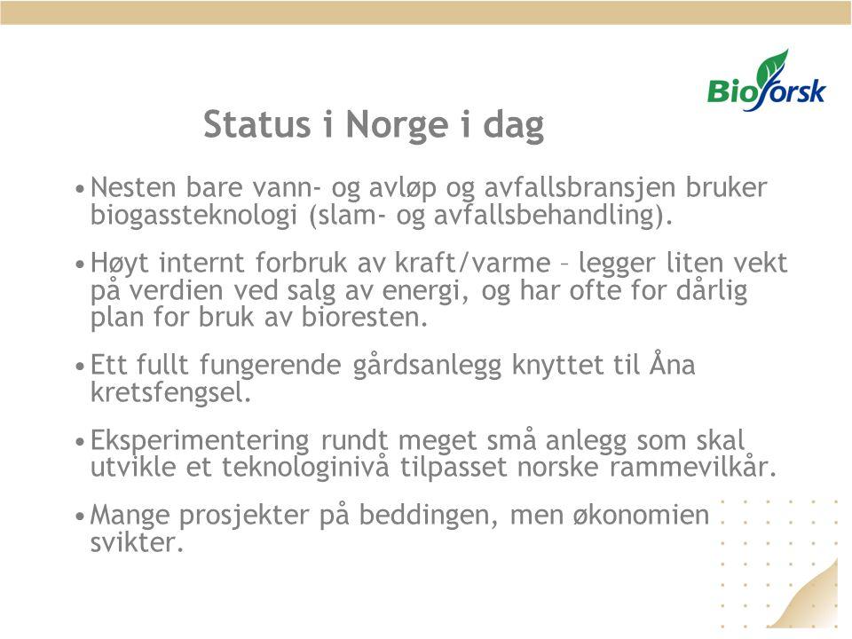 Status i Norge i dag •Nesten bare vann- og avløp og avfallsbransjen bruker biogassteknologi (slam- og avfallsbehandling). •Høyt internt forbruk av kra