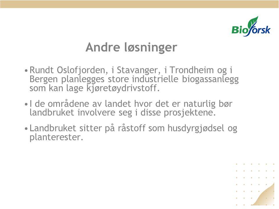 Andre løsninger •Rundt Oslofjorden, i Stavanger, i Trondheim og i Bergen planlegges store industrielle biogassanlegg som kan lage kjøretøydrivstoff. •