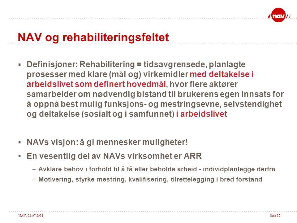 NAV, 02.07.2014Side 10 NAV og rehabiliteringsfeltet  Definisjoner: Rehabilitering = tidsavgrensede, planlagte prosesser med klare (mål og) virkemidle