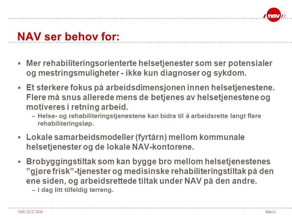 NAV, 02.07.2014Side 11 NAV ser behov for:  Mer rehabiliteringsorienterte helsetjenester som ser potensialer og mestringsmuligheter - ikke kun diagnos