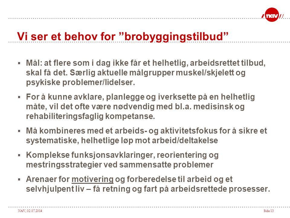 """NAV, 02.07.2014Side 13 Vi ser et behov for """"brobyggingstilbud""""  Mål: at flere som i dag ikke får et helhetlig, arbeidsrettet tilbud, skal få det. Sær"""
