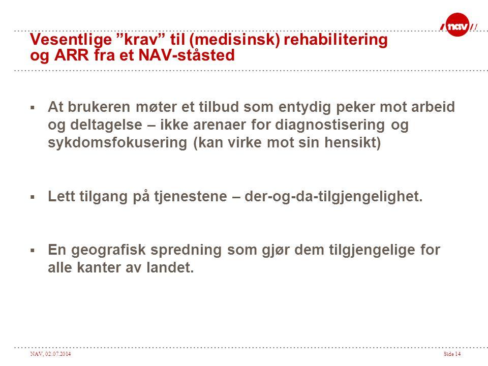 """NAV, 02.07.2014Side 14 Vesentlige """"krav"""" til (medisinsk) rehabilitering og ARR fra et NAV-ståsted  At brukeren møter et tilbud som entydig peker mot"""