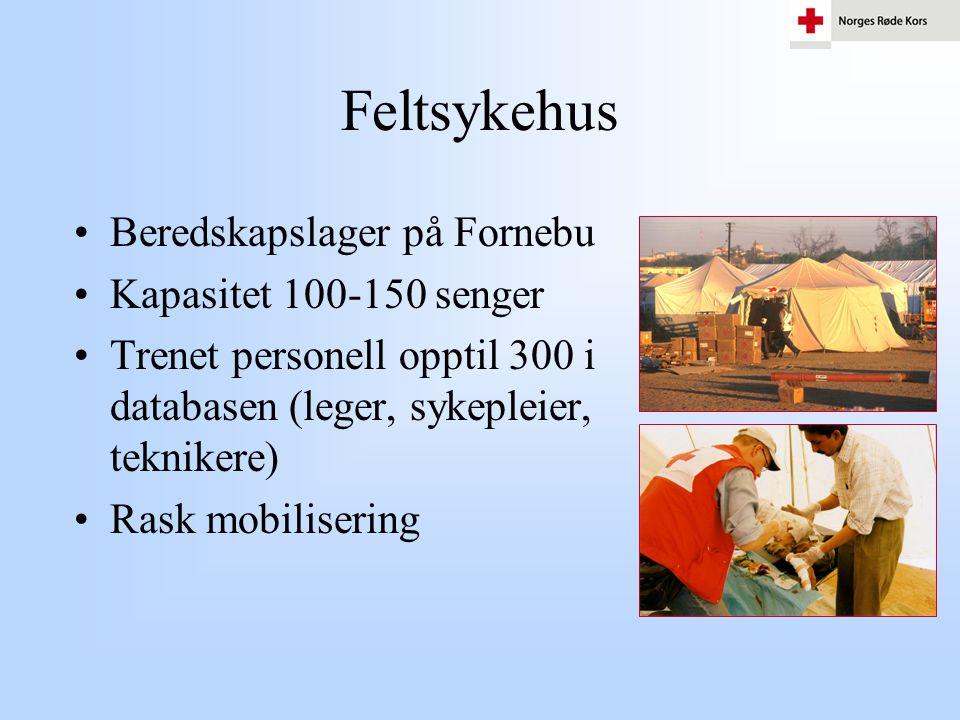 Feltsykehus •Beredskapslager på Fornebu •Kapasitet 100-150 senger •Trenet personell opptil 300 i databasen (leger, sykepleier, teknikere) •Rask mobili