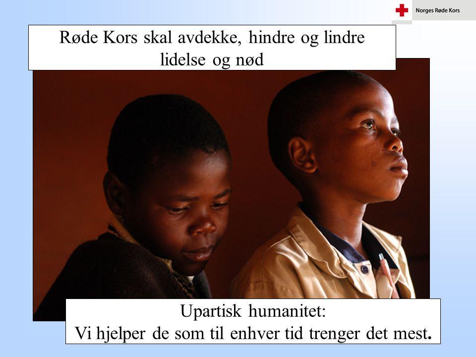 Røde Kors - Verdensomspennende og lokalt 414 Lokalforeninger 320 Hjelpekorps 150 000 medlemmer 25 000 frivillige 185 Nasjonalforeninger 100 millioner medlemmer globalt
