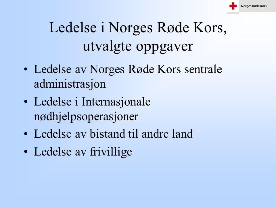 Ledelse i Norges Røde Kors, utvalgte oppgaver •Ledelse av Norges Røde Kors sentrale administrasjon •Ledelse i Internasjonale nødhjelpsoperasjoner •Led