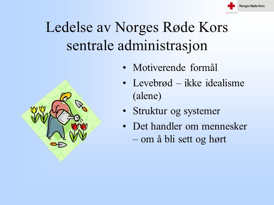Ledelse av Norges Røde Kors sentrale administrasjon •Motiverende formål •Levebrød – ikke idealisme (alene) •Struktur og systemer •Det handler om menne