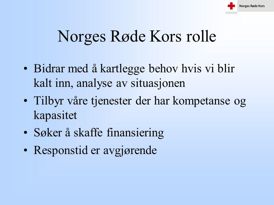 Norges Røde Kors rolle •Bidrar med å kartlegge behov hvis vi blir kalt inn, analyse av situasjonen •Tilbyr våre tjenester der har kompetanse og kapasi