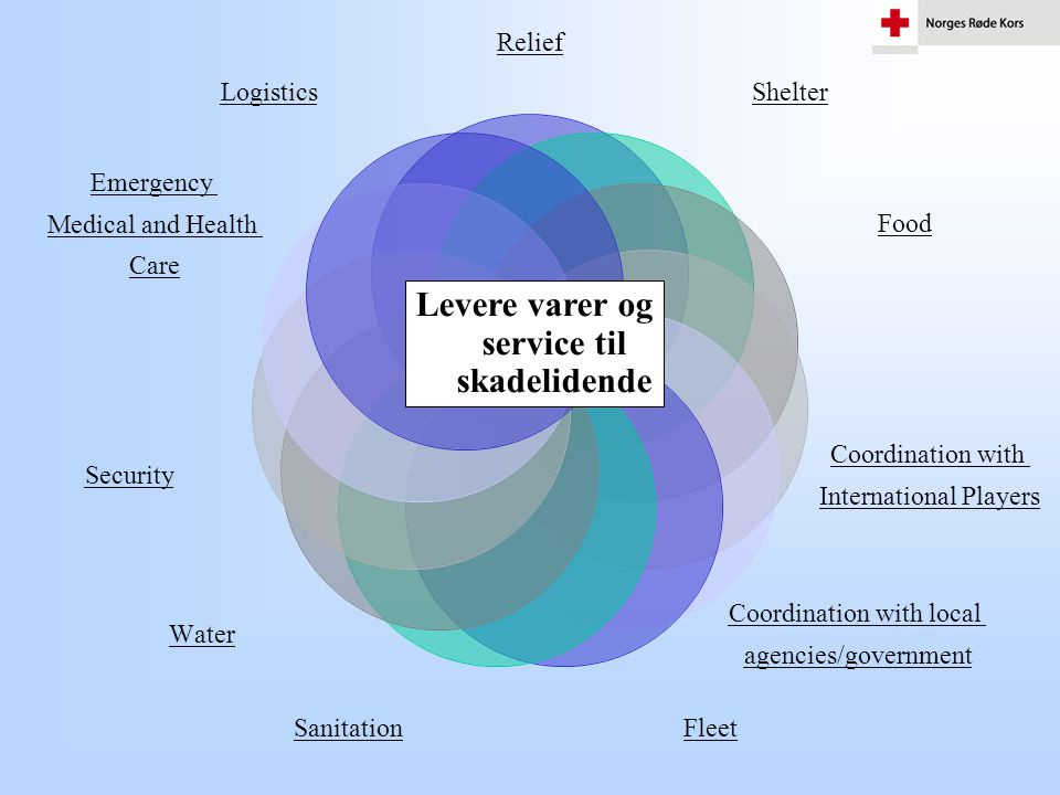 Relief Shelter Food Coordination with International Players Coordination with local agencies/government Fleet Sanitation Levere varer og service til s