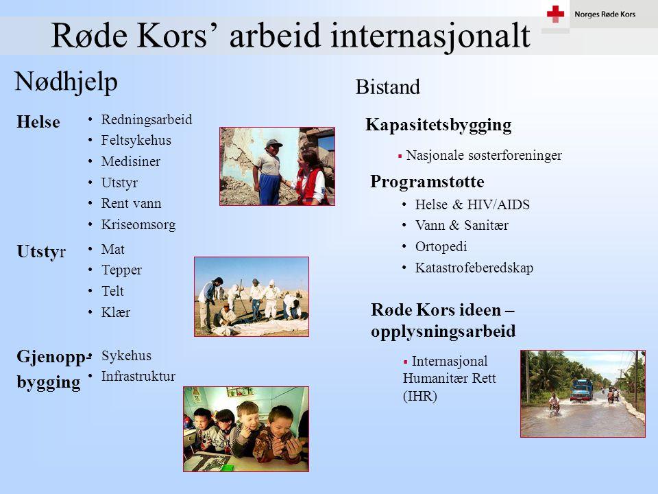 Røde Kors' arbeid internasjonalt Nødhjelp Bistand •Redningsarbeid •Feltsykehus •Medisiner •Utstyr •Rent vann •Kriseomsorg Helse Kapasitetsbygging •Mat