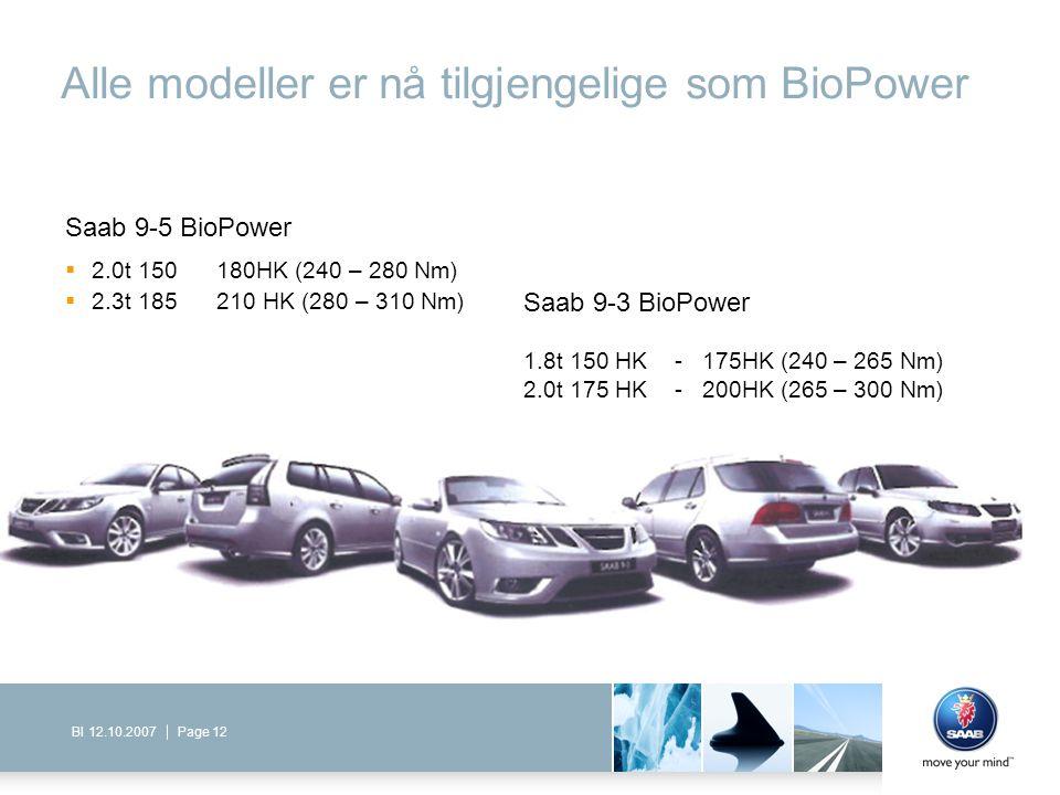 Page 12BI 12.10.2007 Alle modeller er nå tilgjengelige som BioPower Saab 9-5 BioPower  2.0t 150 180HK (240 – 280 Nm)  2.3t 185 210 HK (280 – 310 Nm)