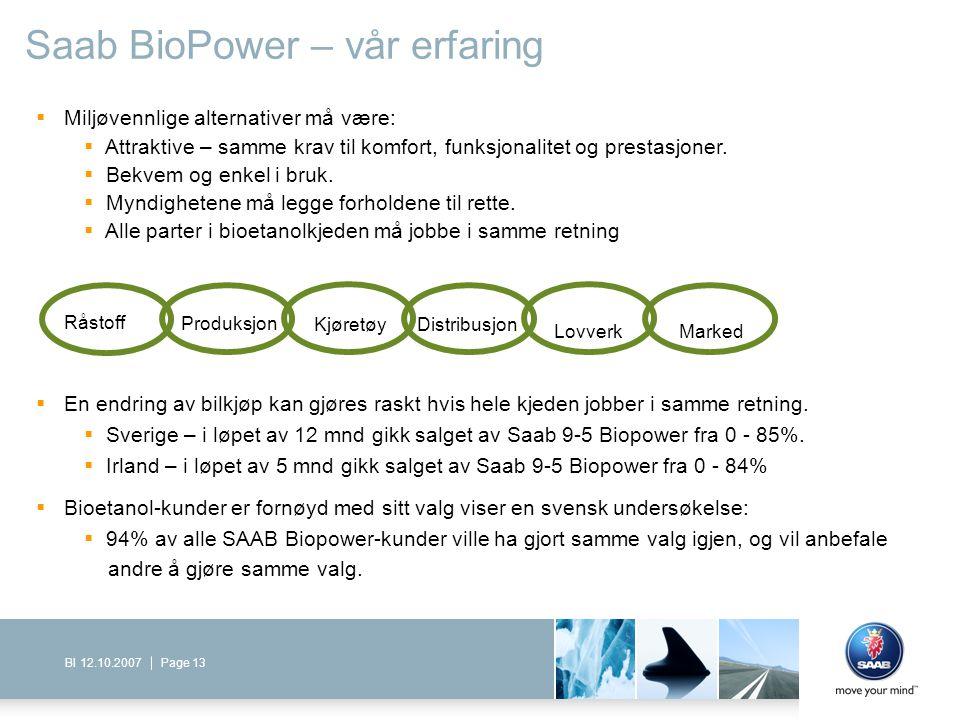 Page 13BI 12.10.2007 Saab BioPower – vår erfaring  Miljøvennlige alternativer må være:  Attraktive – samme krav til komfort, funksjonalitet og prest