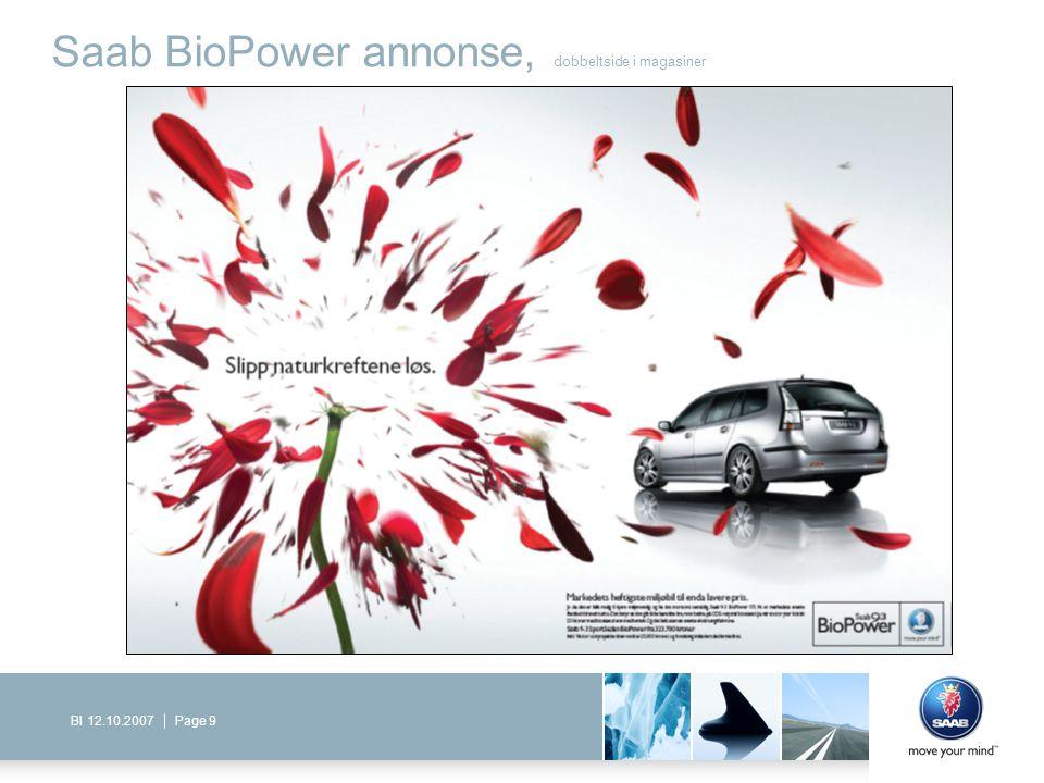 Page 9BI 12.10.2007 Saab BioPower annonse, dobbeltside i magasiner