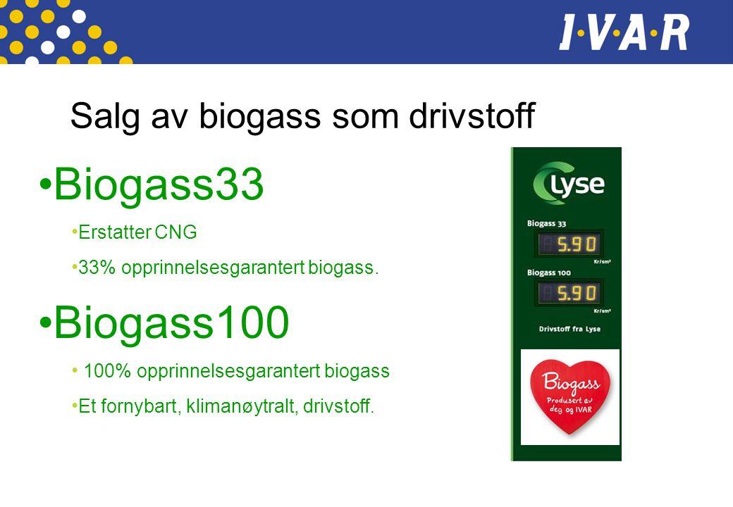 Salg av biogass som drivstoff •Biogass33 • Erstatter CNG • 33% opprinnelsesgarantert biogass. •Biogass100 • 100% opprinnelsesgarantert biogass • Et fo