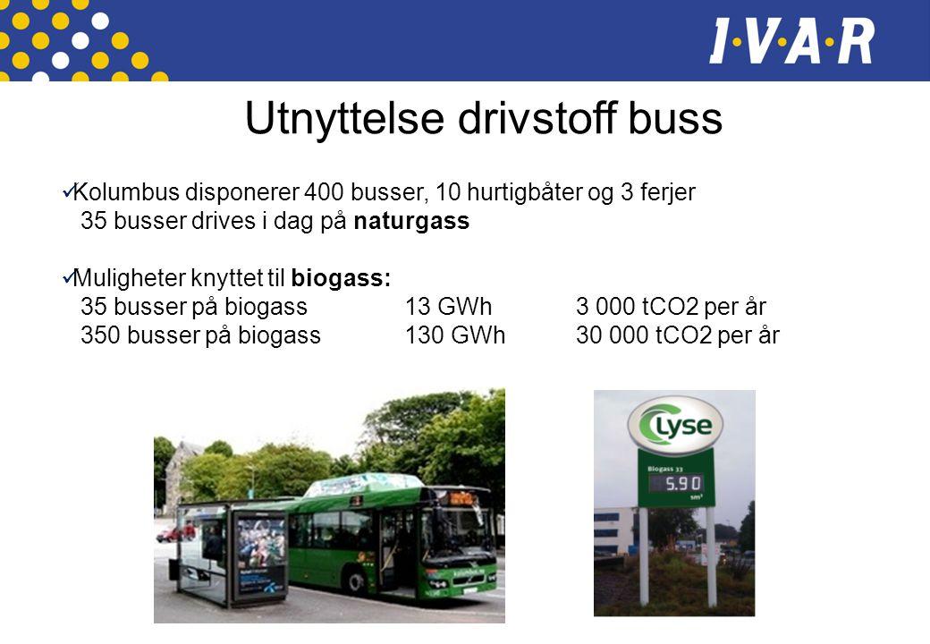  Kolumbus disponerer 400 busser, 10 hurtigbåter og 3 ferjer 35 busser drives i dag på naturgass  Muligheter knyttet til biogass: 35 busser på biogas
