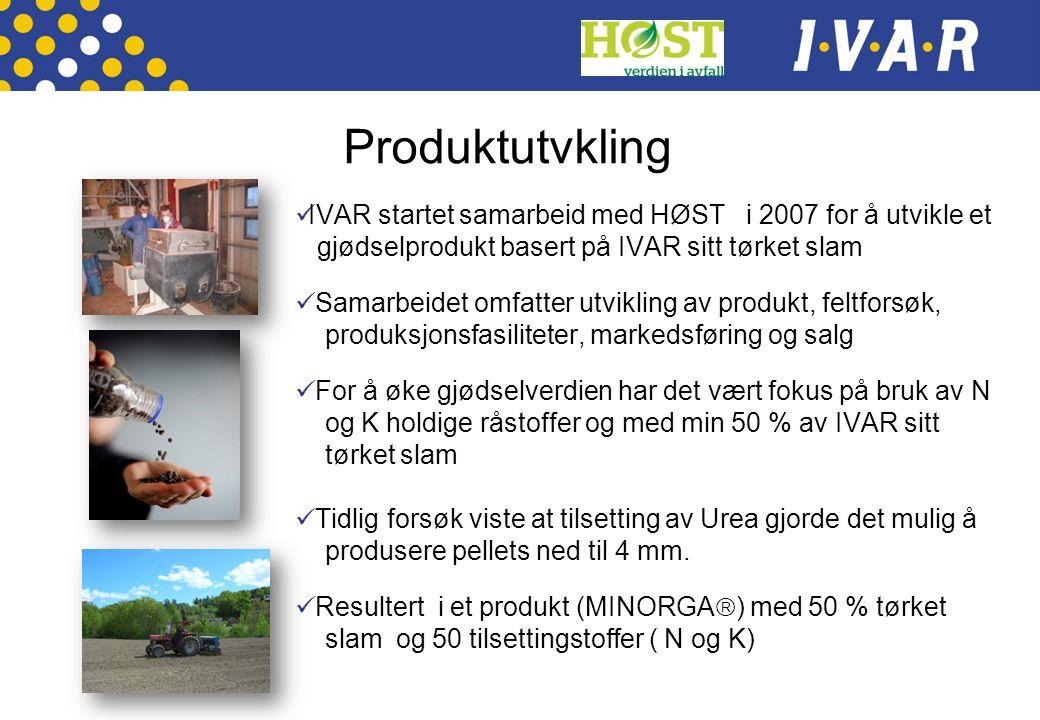 Produktutvkling  IVAR startet samarbeid med HØST i 2007 for å utvikle et gjødselprodukt basert på IVAR sitt tørket slam  Samarbeidet omfatter utvikl