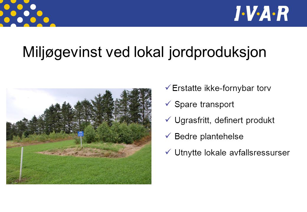 Miljøgevinst ved lokal jordproduksjon  Erstatte ikke-fornybar torv  Spare transport  Ugrasfritt, definert produkt  Bedre plantehelse  Utnytte lok