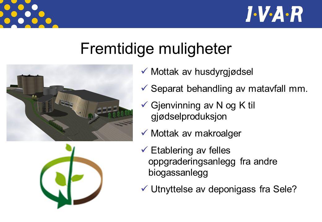 Fremtidige muligheter  Mottak av husdyrgjødsel  Separat behandling av matavfall mm.  Gjenvinning av N og K til gjødselproduksjon  Mottak av makroa
