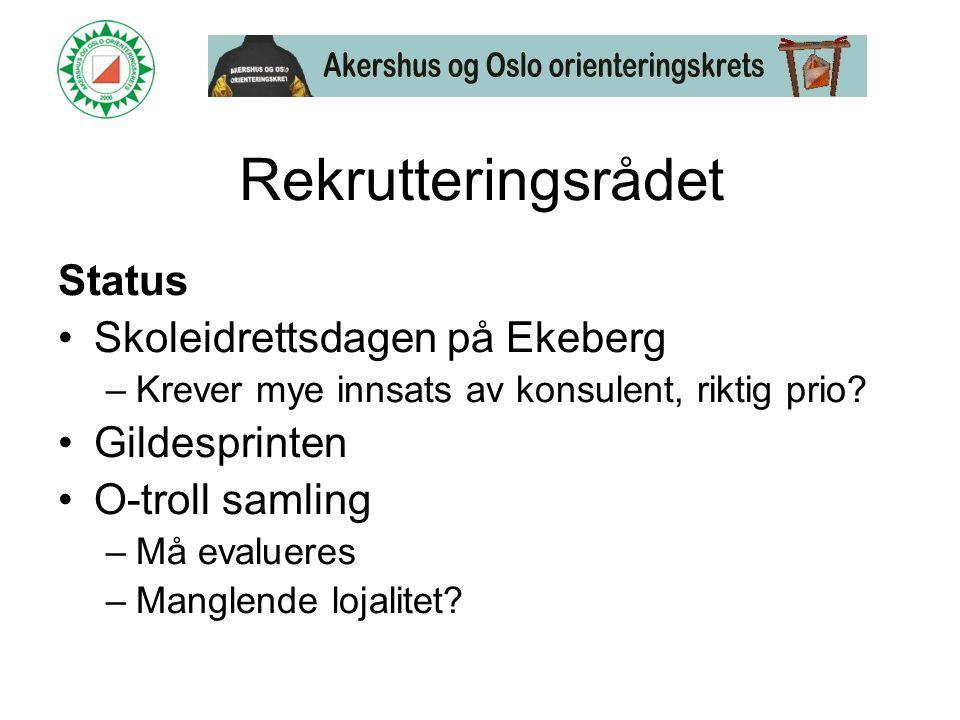 Rekrutteringsrådet Status •Skoleidrettsdagen på Ekeberg –Krever mye innsats av konsulent, riktig prio.
