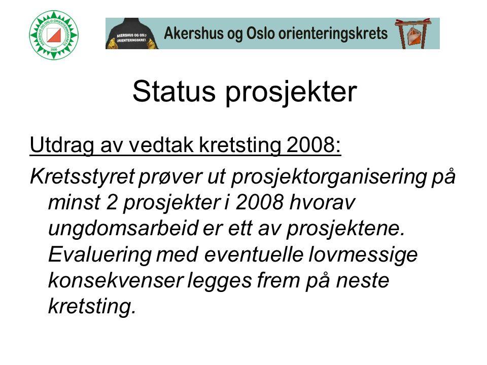 Status prosjekter Utdrag av vedtak kretsting 2008: Kretsstyret prøver ut prosjektorganisering på minst 2 prosjekter i 2008 hvorav ungdomsarbeid er ett av prosjektene.