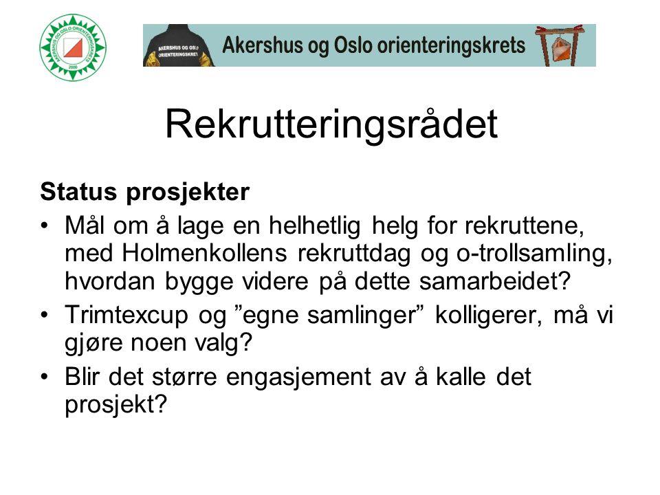 Rekrutteringsrådet Status prosjekter •Mål om å lage en helhetlig helg for rekruttene, med Holmenkollens rekruttdag og o-trollsamling, hvordan bygge videre på dette samarbeidet.