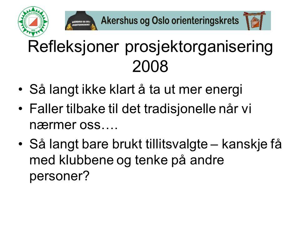 Refleksjoner prosjektorganisering 2008 •Så langt ikke klart å ta ut mer energi •Faller tilbake til det tradisjonelle når vi nærmer oss….