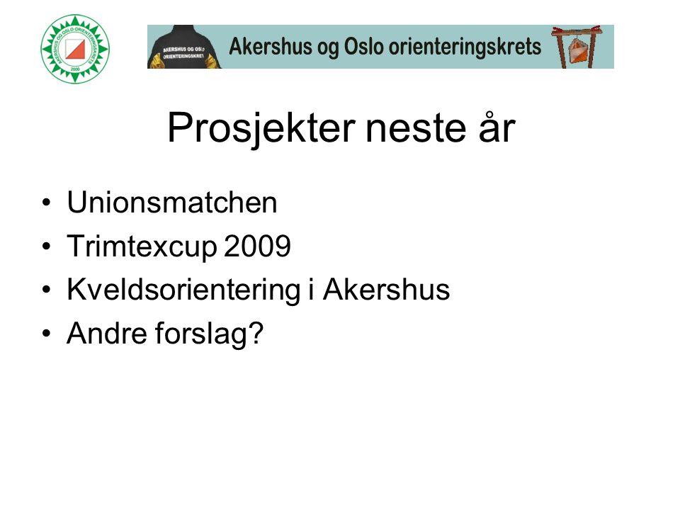 Prosjekter neste år •Unionsmatchen •Trimtexcup 2009 •Kveldsorientering i Akershus •Andre forslag