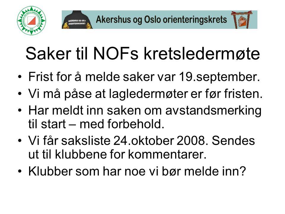 Saker til NOFs kretsledermøte •Frist for å melde saker var 19.september.
