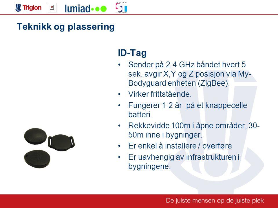 Teknikk og plassering ID-Tag •Sender på 2.4 GHz båndet hvert 5 sek.