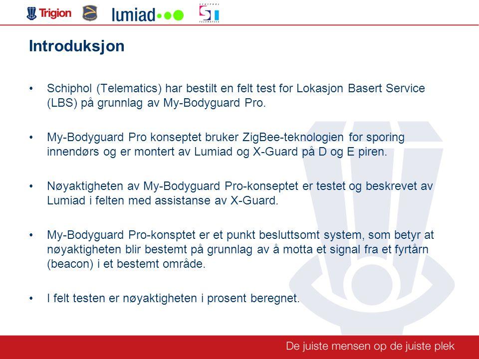 Introduksjon •Schiphol (Telematics) har bestilt en felt test for Lokasjon Basert Service (LBS) på grunnlag av My-Bodyguard Pro.