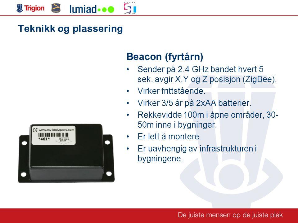 Teknikk og plassering Beacon (fyrtårn) •Sender på 2.4 GHz båndet hvert 5 sek.