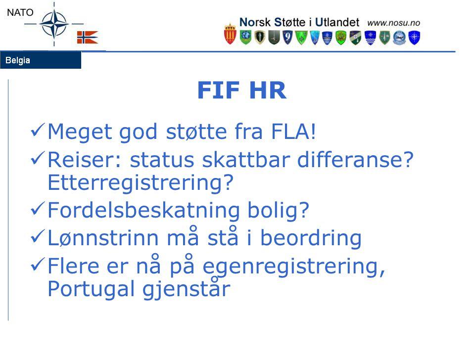 FIF HR  Meget god støtte fra FLA!  Reiser: status skattbar differanse? Etterregistrering?  Fordelsbeskatning bolig?  Lønnstrinn må stå i beordring