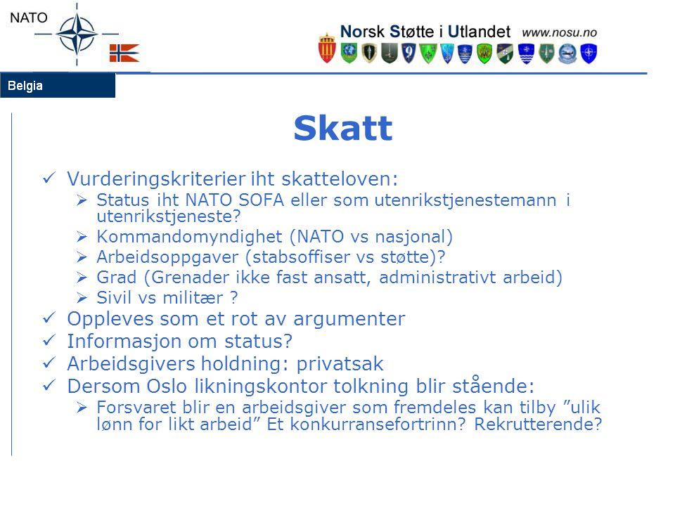 Skatt  Vurderingskriterier iht skatteloven:  Status iht NATO SOFA eller som utenrikstjenestemann i utenrikstjeneste?  Kommandomyndighet (NATO vs na