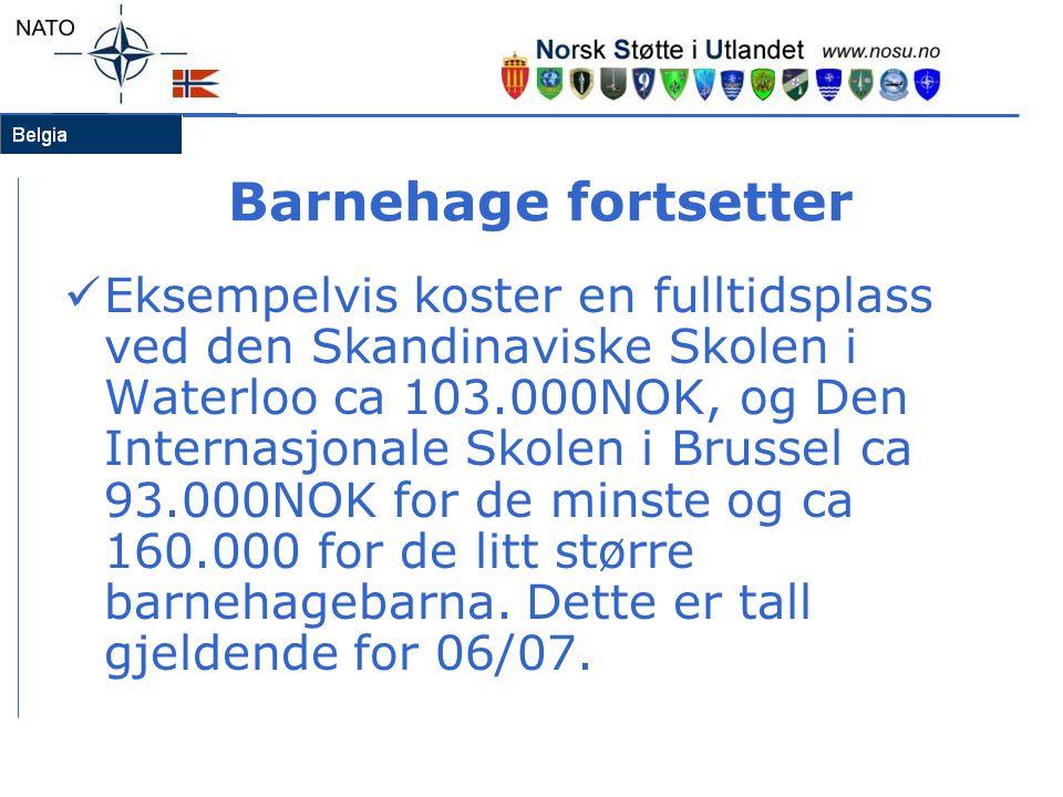 Barnehage fortsetter  Eksempelvis koster en fulltidsplass ved den Skandinaviske Skolen i Waterloo ca 103.000NOK, og Den Internasjonale Skolen i Bruss