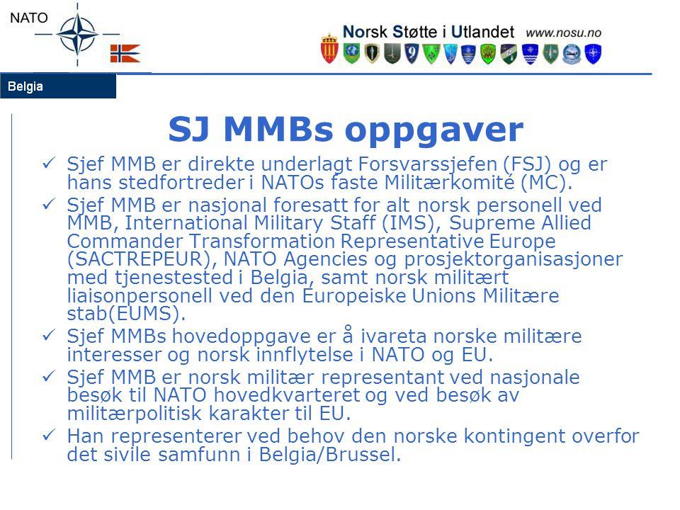 SJ MMBs oppgaver  Sjef MMB er direkte underlagt Forsvarssjefen (FSJ) og er hans stedfortreder i NATOs faste Militærkomité (MC).  Sjef MMB er nasjona