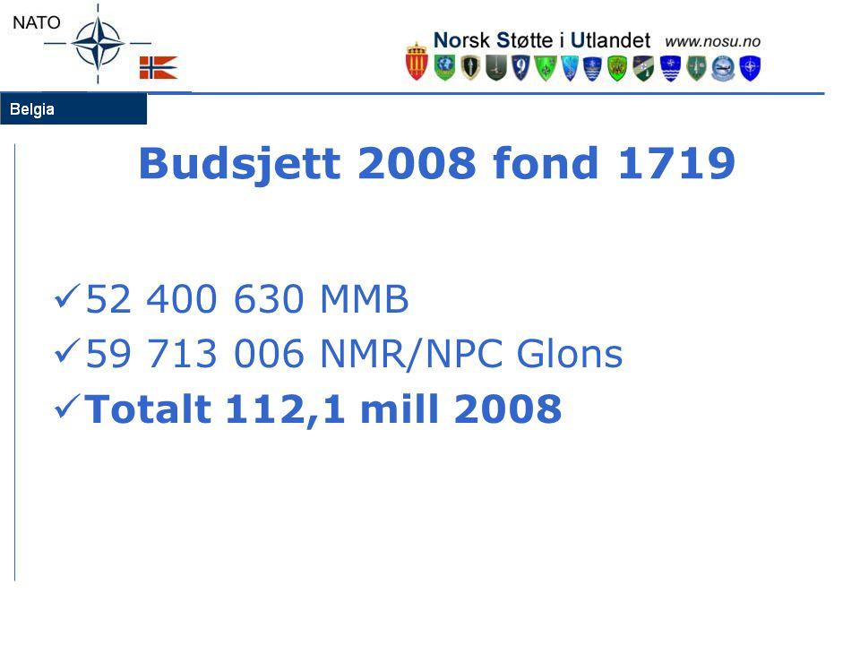 Budsjett 2008 fond 1719  52 400 630 MMB  59 713 006 NMR/NPC Glons  Totalt 112,1 mill 2008