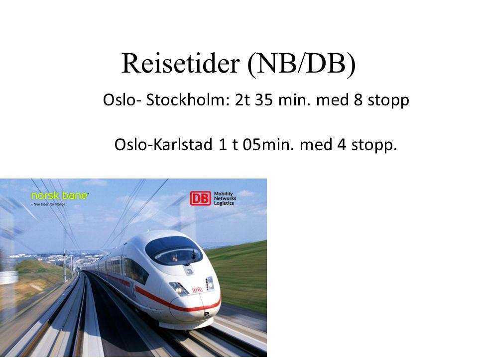 Reisetider (NB/DB) Oslo- Stockholm: 2t 35 min. med 8 stopp Oslo-Karlstad 1 t 05min. med 4 stopp.