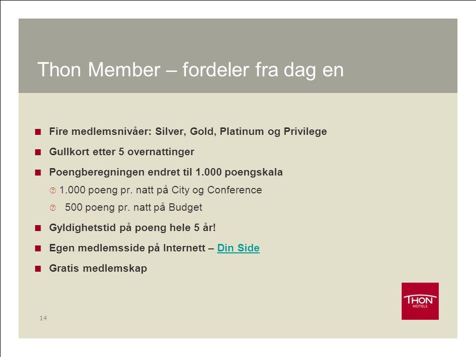 14 Thon Member – fordeler fra dag en  Fire medlemsnivåer: Silver, Gold, Platinum og Privilege  Gullkort etter 5 overnattinger  Poengberegningen end