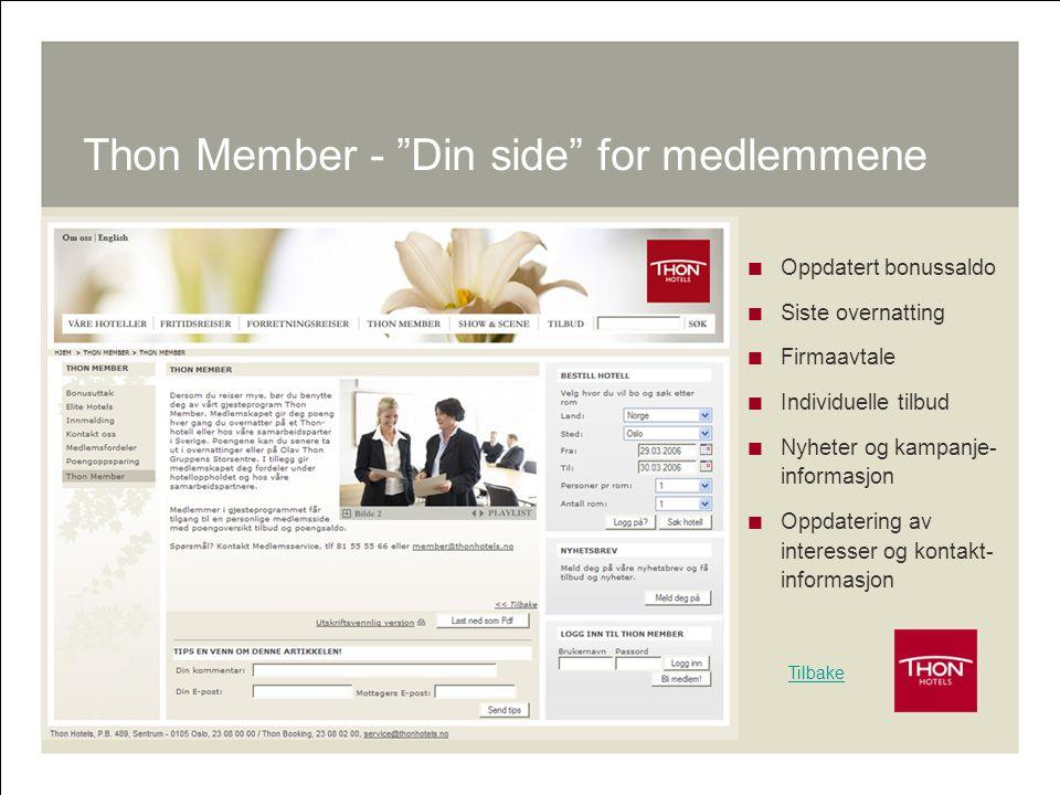 """18 Thon Member - """"Din side"""" for medlemmene  Oppdatert bonussaldo  Siste overnatting  Firmaavtale  Individuelle tilbud  Nyheter og kampanje- infor"""