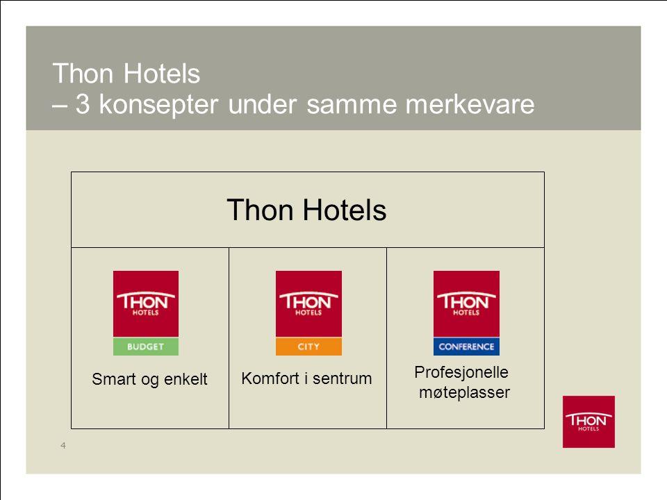 4 Smart og enkeltKomfort i sentrum Profesjonelle møteplasser Thon Hotels Thon Hotels – 3 konsepter under samme merkevare